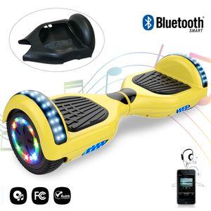 Glisse urbaine  COOL&FUN Cool&Fun hoverboard gyropode 6.5 Pouces avec Bluetooth Jaune + Housse en silicone protection pour hoverboard  Gyropode 6,5 pouces, noir