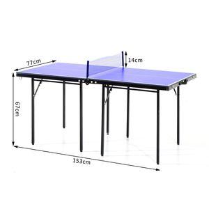 Tennis de table  HOMCOM Mini table de ping pong tennis de table pliable portable acier 153L x 77l x 67H cm bleu et noir neuf 82