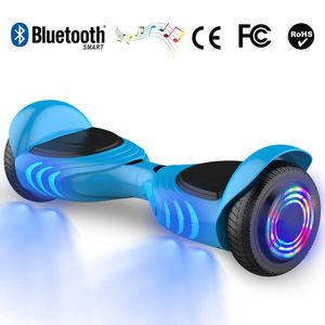 Glisse urbaine  COOL&FUN Hoverboard gyropode bluetooth 6.5 pouces, scooter Roues lumineuses à LED de nouvelle génération Q2, bleu