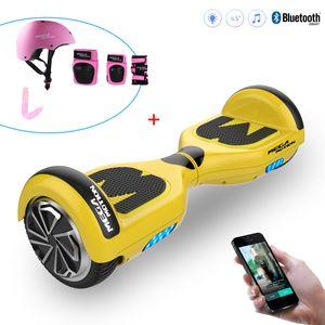 Glisse urbaine  MEGA MOTION Mega Motion Hoverboard Gyropode 6.5 pouces bluetooth Jaune+Équipement de protection sportive pour hoverboard, skate, vélo, skateboard, Ensemble protecteur, Size L-Rose