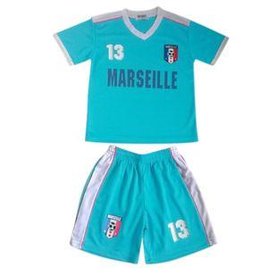 Football adulte FASHION Ensemble short et maillot de foot Marseille enfant bleu turquoise Taille de 4 à 14 ans