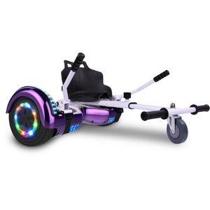 COOL&FUN Cool&Fun Hoverboard Bluetooth 6.5 Pouces violet + Hoverkart blanc, Gyropode Overboard Smart Scooter certifié, Pneu à LED de couleur, Kit kart