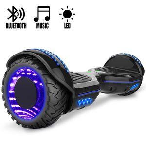 Glisse urbaine  COOL&FUN COOL&FUN Hoverboard Gyropode Bluetooth 6.5 pouces, Roues lumineuses à LED de couleur et Bande de LED, Noir