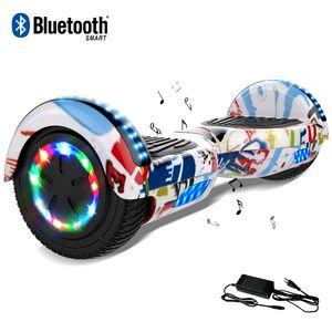 COOL&FUN Cool&Fun Hoverboard 6.5 Pouces, Gyropode avec Bluetooth et Pneu à LED de couleur, Overboard Certifé CE, UL, Graffiti
