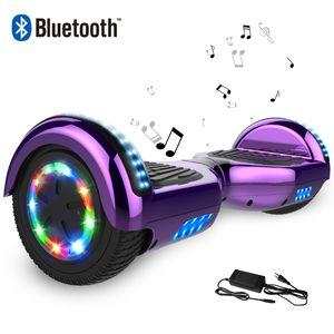 COOL&FUN Cool&Fun Hoverboard 6.5 Pouces, Gyropode avec Bluetooth et Pneu à LED de couleur, Overboard Certifé CE, UL, Violet Chromé