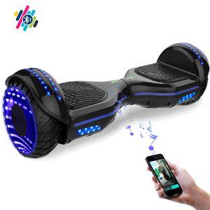 Glisse urbaine  COOL&FUN COOL&FUN Hoverboard Bluetooth 6.5 pouces, Gyropode Overboard avec Roues lumineuses à LED de couleur et Bande de LED, Noir