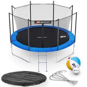 HS HOP SPORT HS Hop-Sport Trampoline de jardin rond 305 cm/4 pieds avec filet intérieur; échelle; bâche de protection (Bleu)