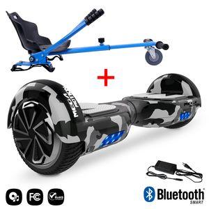 MEGA MOTION Mega Motion Hoverboard bluetooth 6.5 pouces, M1 Camouflage + Hoverkart bleu, Gyropode Overboard Smart Scooter certifié, Kit kart