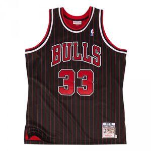 Basketball adulte MITCHELL AND NESS Maillot NBA swingman Scottie Pippen Chicago Bulls 1995-96 Hardwood Classics Mitchell & ness noir rayé taille - S