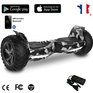 Glisse urbaine  EVERCROSS EVERCROSS Hoverboard Bluetooth 8.5 pouces,  Gyropode Overboard avec Application de Contrôle, SUV Hummer Tout Terrain, Camouflage/Vert Armé