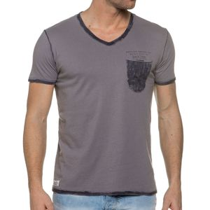 Mode- Lifestyle homme DEELUXE 74 Tee Shirt Col V Gris Pocket Tees
