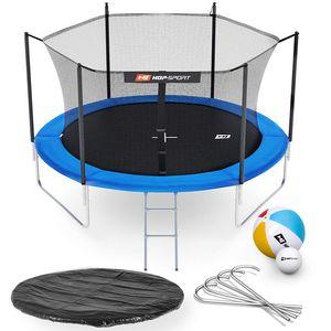 HS HOP SPORT HS Hop-Sport Trampoline de jardin rond 305 cm/3pieds avec filet intérieur; échelle; bâche de protection (Bleu)