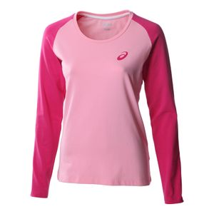 Athlétisme femme ASICS Asics Essentials Long Sleeve Colourblock Womens Shirt Pink - UK 4-6