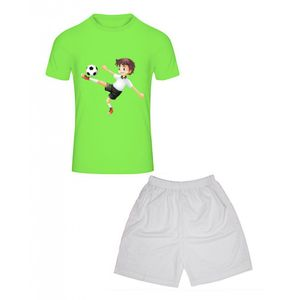 FASHION Ensemble de foot enfant short et tee shirt vert fluo et blanc Taille de 3 à 6 ans (Taille: 3 / 4 ans - couleur: vert)