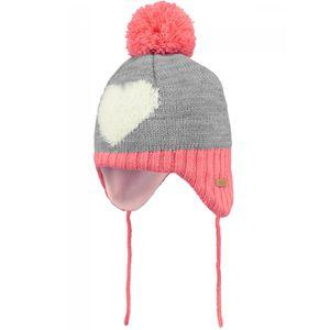 Ski Bébé BART'S BARTS-Bonnet jacquard à pompon rose corail gris coeur bébé fille du 1 au 3 ans Barts