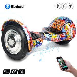 Glisse urbaine  COOL&FUN COOL&FUN Hoverboard 10 pouces avec Bluetooth, Gyropode  Overboard Smart Scooter, Multicouleur