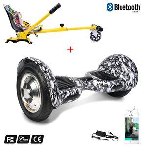 Glisse urbaine  COOL&FUN Cool&Fun Hoverboard Gyropode 10 Pouces Bluetooth Tête De Mort Noir + Hoverkart Hip, Overboard Smart Scooter certifié, Kit kart