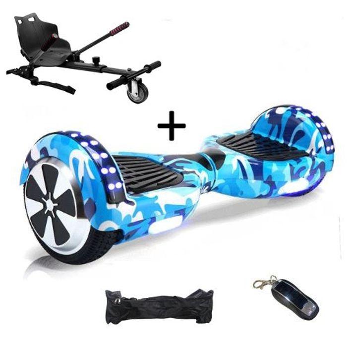 pack hoverboard 6 5 led camouflage bleu hoverkart noir. Black Bedroom Furniture Sets. Home Design Ideas