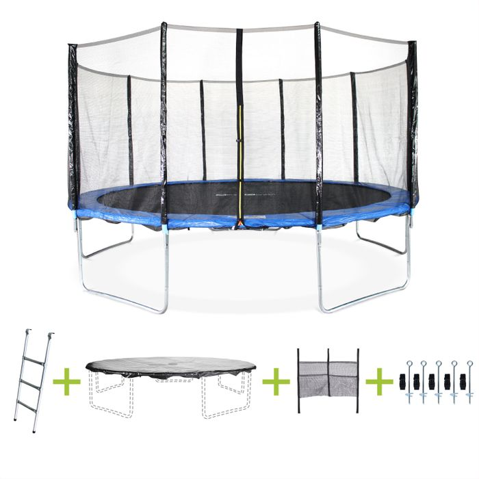 trampoline 460cm avec echelle bache filet secu kit d 39 ancrage achat et prix pas cher go sport. Black Bedroom Furniture Sets. Home Design Ideas