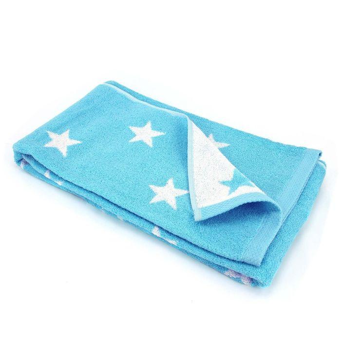 drap de douche 70x140 cm 100 coton 480 g m2 stars bleu turquoise achat et prix pas cher go. Black Bedroom Furniture Sets. Home Design Ideas