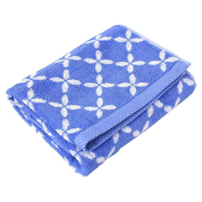 serviette de toilette 50x100 cm shibori floral bleu 100. Black Bedroom Furniture Sets. Home Design Ideas