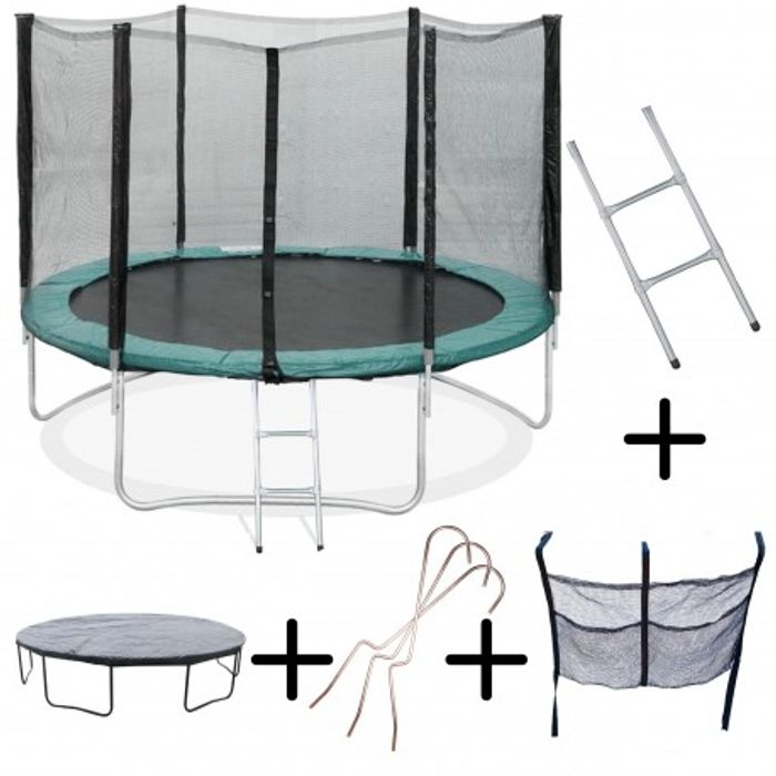 trampoline 370cm flyjump filet echelle bache range chaussure achat et prix pas cher. Black Bedroom Furniture Sets. Home Design Ideas