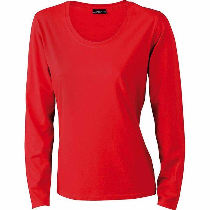 T-shirt femme manches longues - JN903 - ROUGE