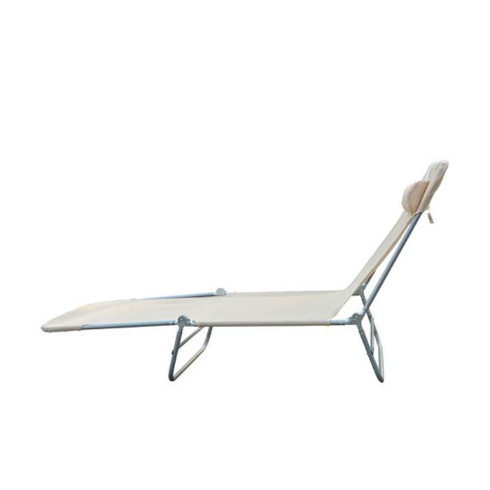 chaise longue pliante bain de soleil inclinable transat textilene lit jardin plage creme 34. Black Bedroom Furniture Sets. Home Design Ideas