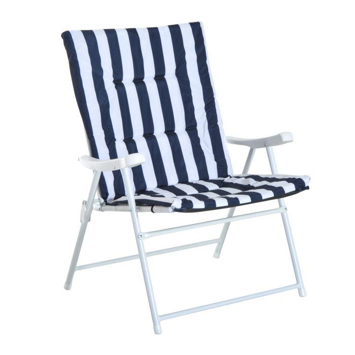 Lot de 2 chaises pliantes de jardin camping loisirs assise - Chaise de jardin bleu marine ...