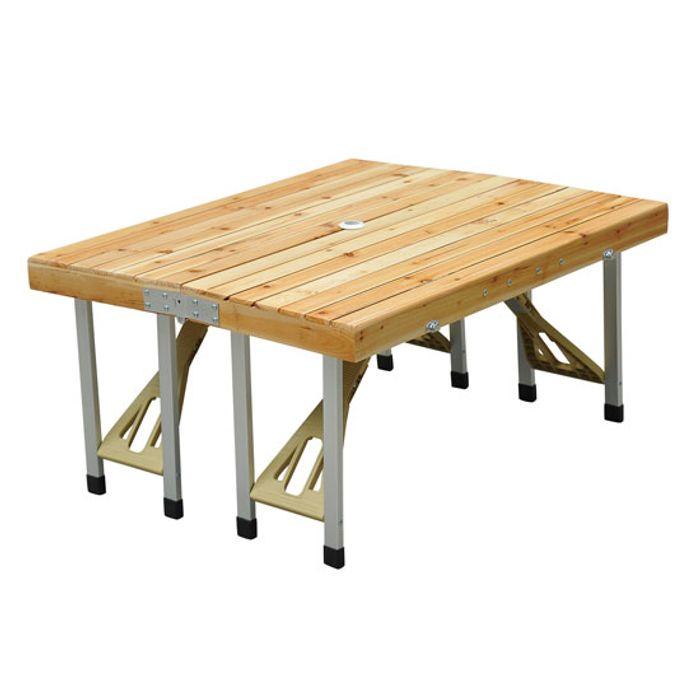 table de camping jardin pique nique pliante en bois avec 4 sieges 04 achat et prix pas cher. Black Bedroom Furniture Sets. Home Design Ideas