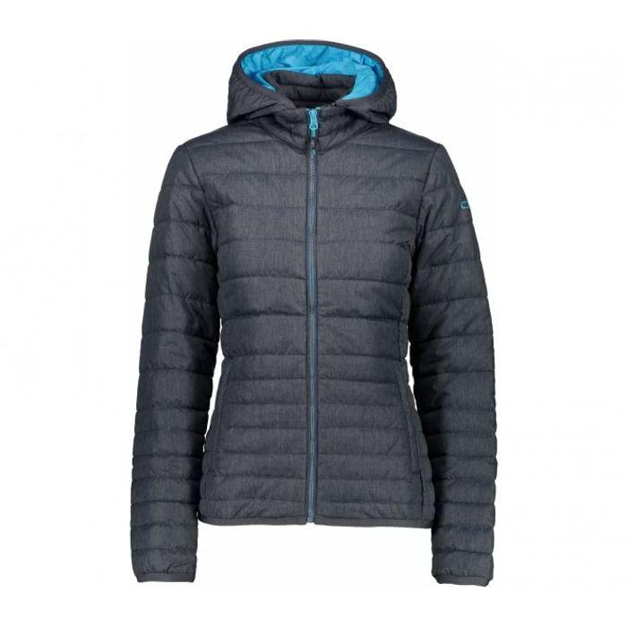 Outdoor femme CMP CMP - Zip Hood Femmes enveloppe isolante (gris foncé bleu  clair) 51b1cb077f8