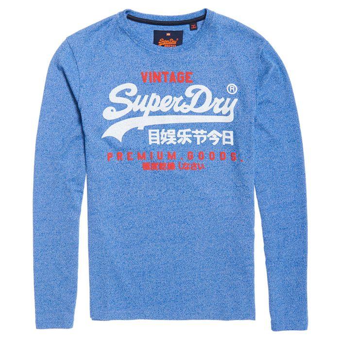 Vintage Logo Duo T Shirt Ml Homme SUPERDRY BLEU pas cher T