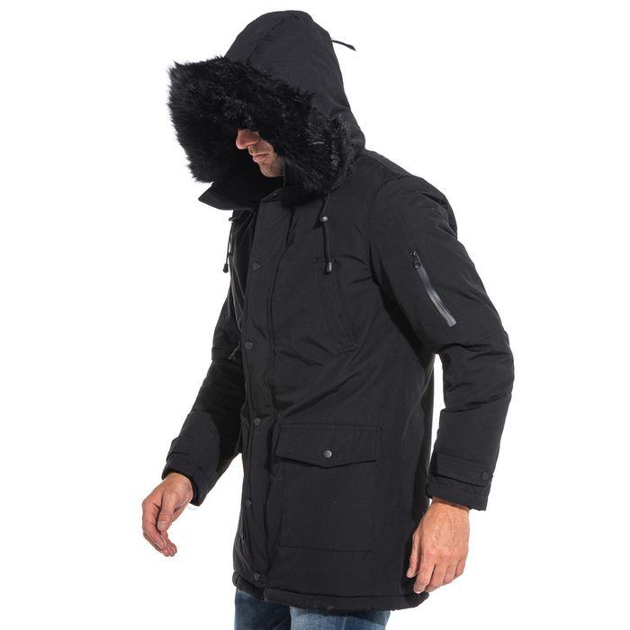 parka manteau homme long noir capuche fausse fourrure. Black Bedroom Furniture Sets. Home Design Ideas